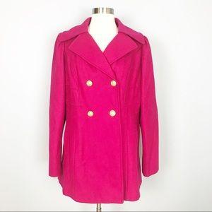 Guess hot pink wool blend winter coat XL